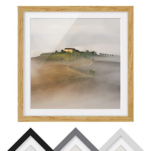 Bilderwelten Póster Enmarcado - Morning Fog In Tuscany - Marco Madera de encina 70 x 70 cm