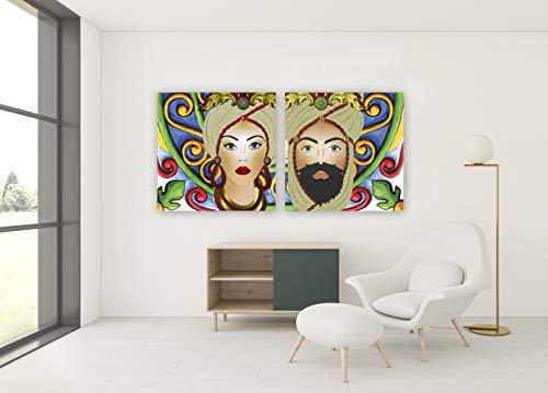 G-factory design Quadro su Tela, Testa di Moro Uomo. Fine Art Made in Sicily. Misure Personalizzabili su Richiesta. (Inserti Verdi, 50 x 50 cm)