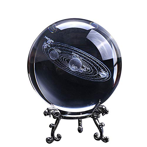 Laser Engraved Globe Miniature Model 3D Solar System Crystal Ball with Silver Metal Base, Home Decoration Gift Clear Crystal Ball for Kids,Space lovers,Girlfriend (8x8x12)
