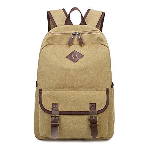 LOKIH Zaino Uomo Donne Zaini Tela Zainetto Borsa A Tracolla di Sacchetto del Messaggero Messenger Bag Backpack,Cachi