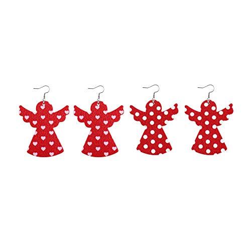 Janly Clearance Sale Accesorio, 2 pares de pendientes colgantes de piel sintética para el día de San Valentín, para mujeres y niñas, para invierno y Navidad (A)