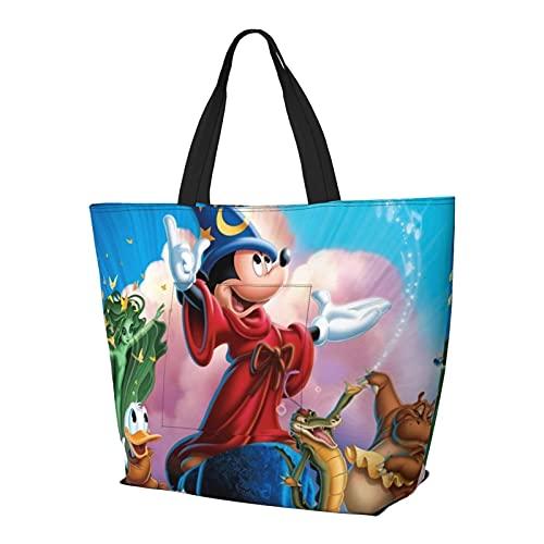 Cartoon Mickey Minnie Multifuncional plegable y reutilizable de gran capacidad con cremallera para las mujeres, bolso de la compra, bolsa de gimnasio, bolsa de viaje, bolsa de ordenador