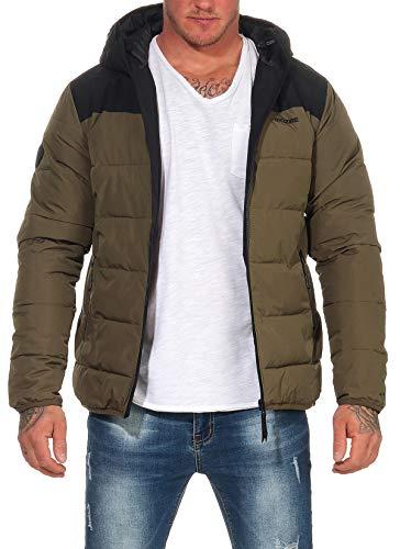 mazine Herren Winterjacke Estevan Puffer Jacket Modern Streetwear mit Kapuze Black/Olive M
