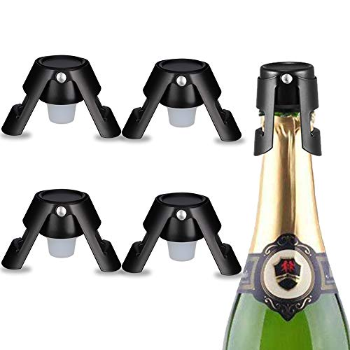 Nachts 4er Pack Champagner Stopper - Premium Champagner und Champagner Stopper aus dunklem Edelstahl - Exklusiv für Champagner, Cava, Prosecco & Sekt, Kompakt