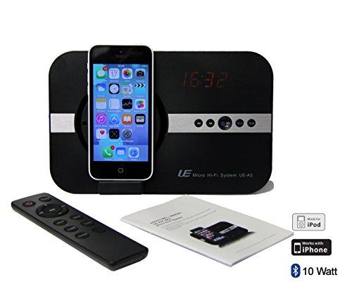 Soundsystem für Apple iPhone 11 pro max X Xs Xr iPhone 8 iPhone 7 iPhone 5 5S 6 6S SE Plus ipod Touch 5 5G Mini Air mit Uhr Radio USB Schnittstelle Bluetooth Fernbedienung Adapter Hi-Fi Tube