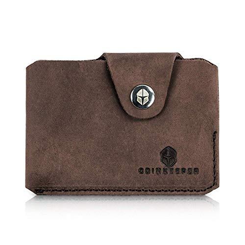 CoinKeeper® Mini Geldbeutel aus exklusiv Echt-Leder - Geldbörse Herren klein mit Münzfach - Schlankes Slim Wallet für Männer - Mini Wallet für Herren