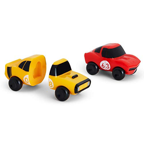 Munchkin Mix and Match Cars Toddler Bath Toy, 2 Pack, Red/Yellow