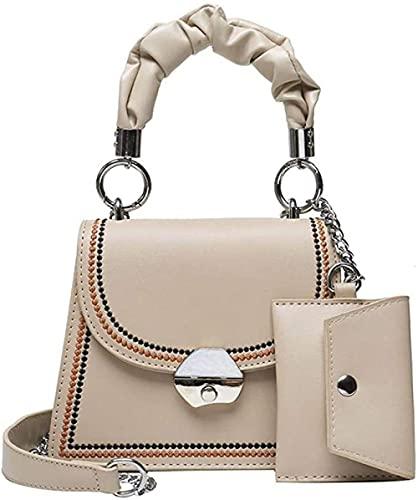 LEOCEE 2 unids/set de bolsos cruzados pequeños de cuero Pu con patrón de piedra para mujer, bolsos cruzados elegantes con cadena de viaje