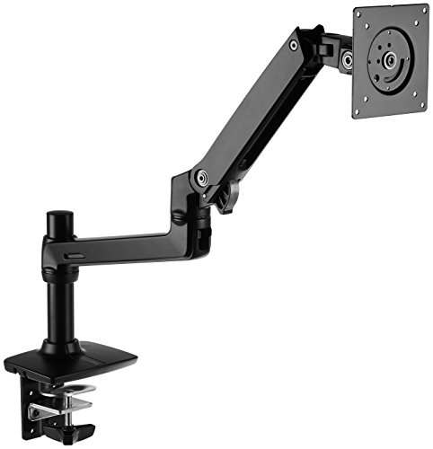 Amazon Basics Single Monitor Stand with Height Adjustable Arm Mount, 360-degree rotation, Adjustable Screen Tilt and Cable Organizer (Steel)
