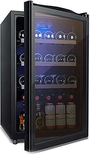 FREEZYMAN 30 Bottle Wine Refrigerator, Temperature Controlled Wine Cooler, Independent Wine Cellar, Domestic Beverage Ice Bar, Small Wine Cooler (Color : Black, Size : 50.554.984.7cm)