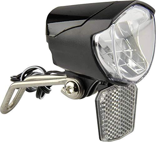 FISCHER Dynamo LED-Scheinwerfer 70 Lux, StVZO zugelassen, Dämmerungsautomatik, Lebensdauer 50.000h, mit Frontreflektor