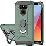 YmhxcY Compatible for LG G6/G6 Plus Case with HD Screen Protector,360 Degree Rotating Ring Kickstand Holder Dual Layers of Shockproof Phone Case for LG G6-ZS Dark Green