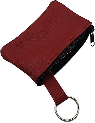 Echt Leder Schlüsseltasche 1 Fach MJ-Design-Germany Made in EU in Schwarz oder Rot (Rot)