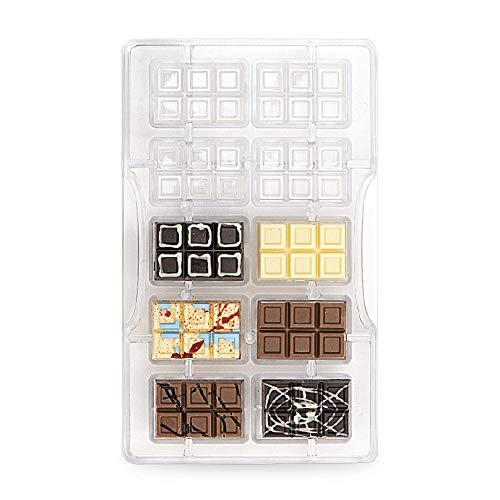 Decora 0050140 Stampo Professionale Cioccolato Tavoletta Mini-10 cavità da 42 x 28 x h9 mm, Policarbonato