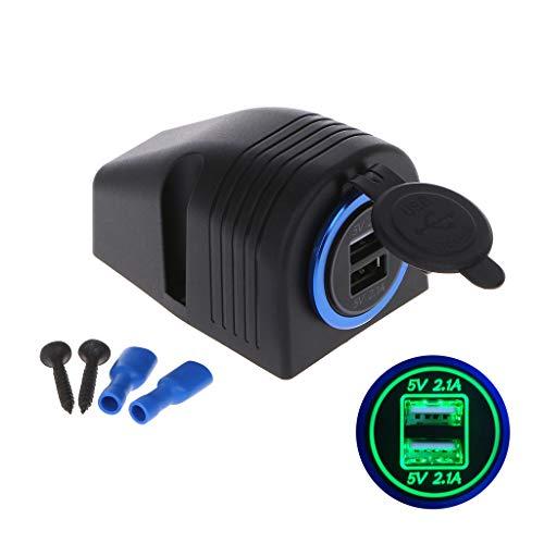 JENOR 12 V 24 V a 5 V 2.1 A Dual USB Auto Cargador Fuente de alimentación Tienda Base para Coche, camión, Moto, Barco, ATV, Smartphone, GPS Tablet