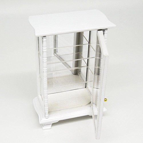 Odoria 1/12 Miniatur Möbel Stand Glasvitrine mit Spiegel Sammlervitrine Weiß Für Puppenhaus Möbel Zubehör