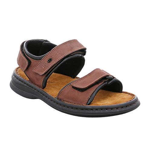 Josef Seibel Herren Sandalen Rafe 10104, Männer Klassische Sandalen, Sandalette sommerschuh Klett-Sandale bequem robust,Brasil/schwarz,39 EU / 6 UK