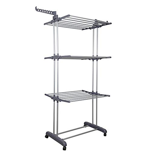 YOUUD Clothes Drying Rack 3Tiers with Retractable Trays Collapsible Shelves Rolling and Base with Casters Stainless Laundry Dryer Indoor/Outdoor Standing Rack