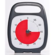 Time Timer - TTT-TTP7-W PLUS 60 Minute Desk Visual Timer — Countdown Timer with Portable Handle for Classroom, Office, Homeschooling, Study Tool with Silent Operation (Charcoal)