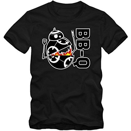 BB-Q T-Shirt | Holzfeuer | Herren | Barbecue Saison | Sommer | Fleisch | BBQ-Smoker, Farbe:Schwarz (Deep Black L190);Größe:M