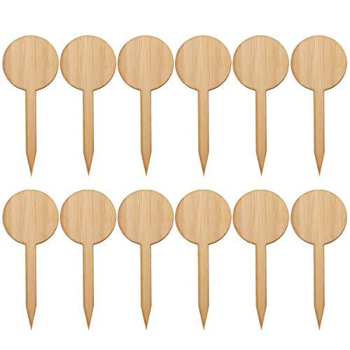 Cabilock 20 Pcs Épaissir Panneau En Bambou T Forme Mini Plantes Étiquette Plaque Ornements Décors Miniatures Boîte De Semis Ornements De Plantes (Style Rond)