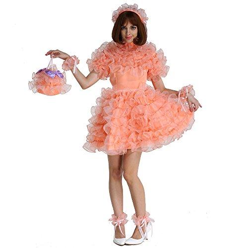 GOceBaby Sissi Französische Dienstmädchen Abschließbar Orange Puffy A Line Kleid Uniform Crossdress Kreuzkleid (XXL)