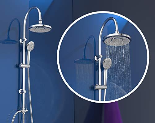 EISL Duschset SOMMERREGEN, Duschsäule mit Regendusche (Ø 220 mm) und Handbrause 3 Strahlarten, ideal zum Nachrüsten - Nutzung vorhandener Bohrlöcher komplettes Montageset Chrom DX1005CS-A