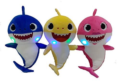 3 Pelúcia Musical Baby Shark Sons E Led