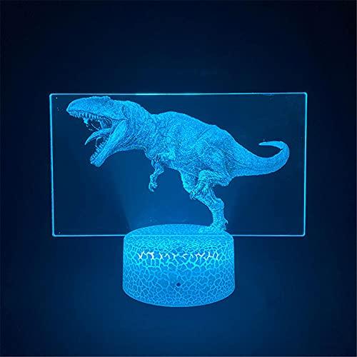 Tyrannosaurus 3D ilusión holograma noche lámpara de ilusión óptica lámpara 16 colores regulable USB Powered Control táctil con base grieta+control remoto para niños niñas niños regalos