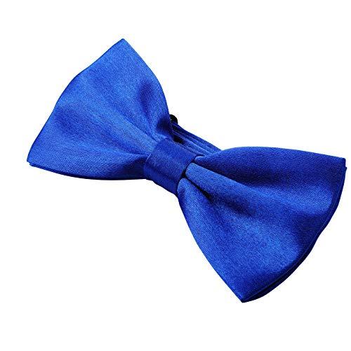 Kajeer Herren Fliege Schleife für Hochzeit Party - Einfarbig Einstellbar Smoking Fliege Nobel Seiden Vor gebundene formale Fliege (Königsblau, Einfarbig)
