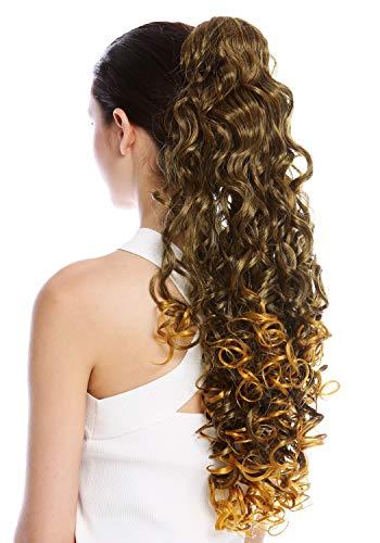 WIG ME UP - MKB-21-V-2T144 Postiche couette queue de cheval peigne très long volumineux boucles brun noir blond mèches