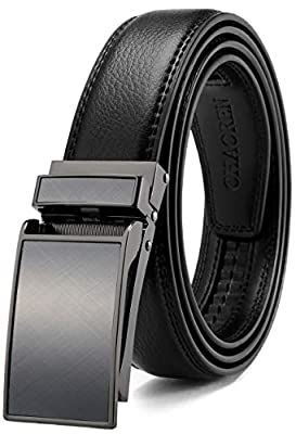 "Men's Ratchet Belt 1 1/8"" Comfort Dress with Slide Click Buckle, CHAOREN Adjustable Belt Trim to Exact Fit"