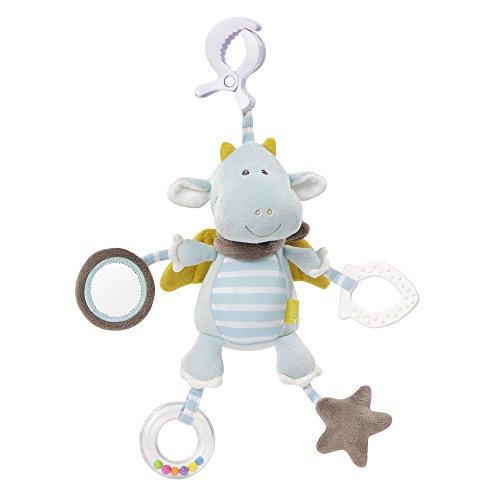 Fehn 065121 Activity-Spieltier Drache / Motorikspielzeug zum Aufhängen mit Spiegel & Ringen zum Beißen, Greifen und Geräusche erzeugen / Für Babys und Kleinkinder ab 0+ Monaten