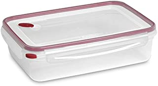 Sterilite Food Storage Container Ultra-Seal Clear Rectangular 16 Cup, Rocket Red Trim