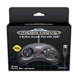 Retro-Bit Official SEGA Mega Drive 8-button Arcade Control Pad USB - Black