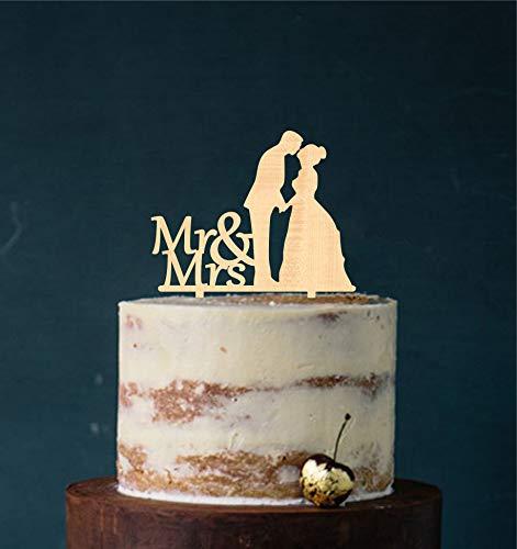 edelstahlheini.de Cake Topper, Tortenstecker, Tortefigur Acryl, Tortenständer - Farbwahl - Etagere Hochzeit Hochzeitstorte (Holz)