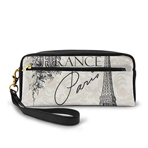 Pencil Case Eiffel Tower Vintage Paris France Eiffel Pen Bag Makeup Pouch Wallet Large Capacity Waterproof for Students or Women