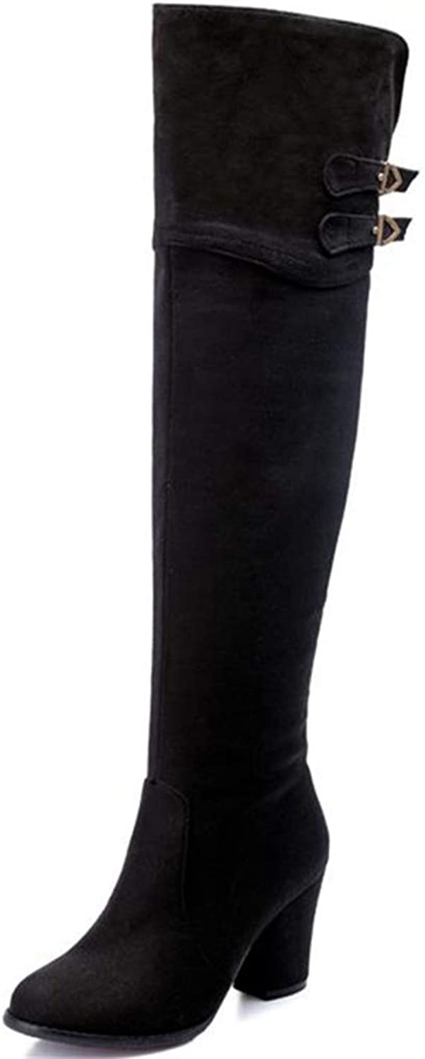 Women Fashion Zip-up Knee High Boot Female Buckle High Square Heels Solid Nubuck Flock Leather Elegant Boot