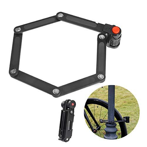 Coriver Lucchetto con combinazione bici, lucchetto pieghevole antifurto, password portatile a 4 cifre, accessori di sicurezza per bici, moto, lucchetto per mountain bike, nero