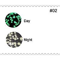 MZRB ルミナスネイルアートグリッタースパンコールムーンスター形グローでダークフレーク蛍光ネイルアートのヒントデコレーションマニキュア (Color : 03)