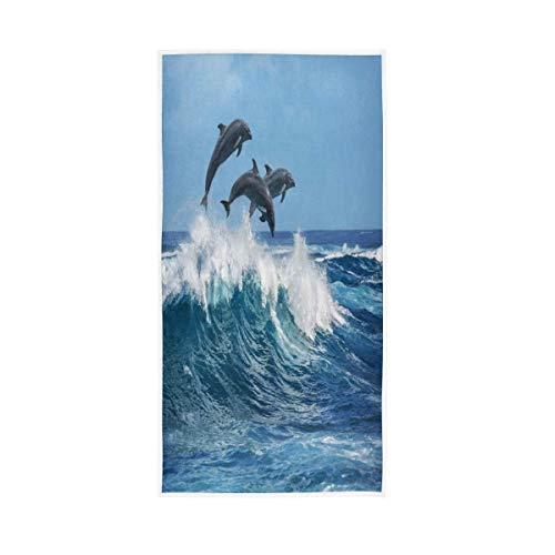 NBHBVGFC Ocean Sea - Toalla de baño suave con diseño de delfín (76,2 x 38,8 cm)