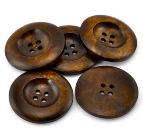 Handarbeit-Lieblingsladen 20 Stück edle Holzknöpfe Ø ca. 35mm rund 4 Loch kaffeebraun braun Holzknopf Knöpfe aus Holz zum annähen nähen basteln Bastelknöpfe Jackenknöpfe Mantelknöpfe Scrapbooking