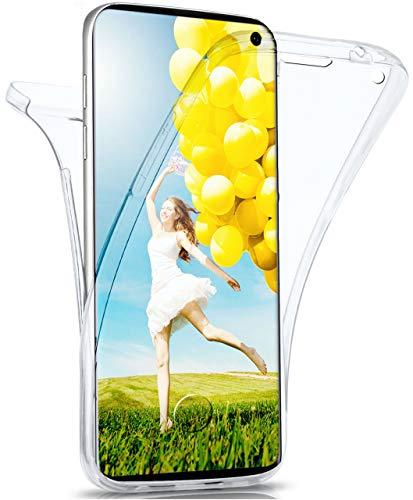 MoEx® Double Hülle kompatibel mit Samsung Galaxy S10 Hülle Silikon Transparent | Beidseitige Handyhülle mit 360 Grad Komplett R&um-Schutz, Transparent