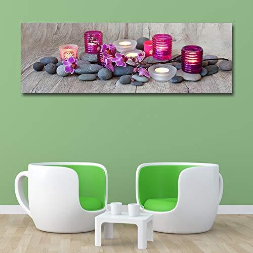 IHlXH Rahmenlos Leinwanddrucke Malen Moderne Kerze und Phalaenopsis Wandkunst Plakat und druckt Bilder Wohnkultur für Wohnzimmer <> 50x150cm