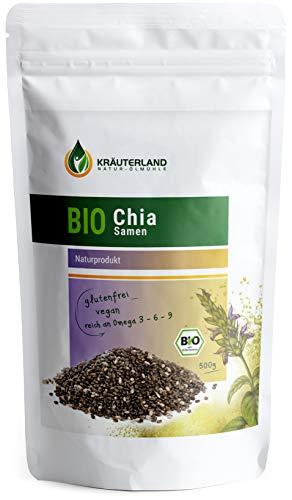 Kräuterland Bio Chia Samen, 500g, 100{57ae591a22f035ceb4e029fe6c589f8b05d768ef848b7f100c14c3aa245593af} rein, vegan, Premiumqualität, reich an Proteinen und Ballaststoffen, Superfood, für Müsli, Backwaren, Salate oder Smoothies