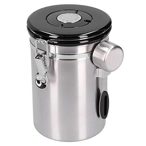 Alvinlite Recipiente de Sellado de Granos de café, Recipiente de Almacenamiento de Hojas de té de azúcar Blanco Inoxidable con Cuchara de válvula de liberación para Uso en la Cocina(Plata)
