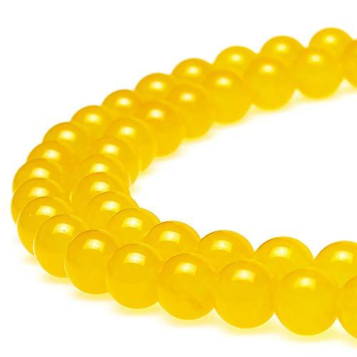 jartc Perline per Braccialetti Energetico Braccialetto Yoga Braccialetto Fai da Te Perle di Pietra Giallo Calcedonio 95 Pezzi con Perle di Chakra, 34CM,4 mm