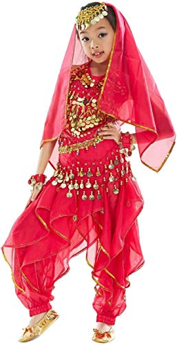Crystallly Madchen Bauchtanz Kleidung Tanzkleid Kinder Indische Agypten Tanz Outfits 7 Einfacher Stil Stucke Cute Gemütlich Young Fashion Kinder Kleidung (Color : Rosa, One Size : H131-150cm)