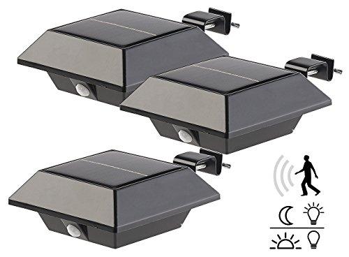 Lunartec Dachrinnenlampe: Solar-LED-Dachrinnenleuchte, 160 lm, 2 W, PIR-Sensor, schwarz, 3er-Set (LED Dachrinnenbeleuchtung)
