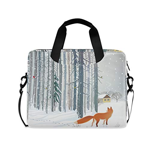 XIXIKO Animal Fox Winter Forest Laptop Bag Expandable Trolley Briefcase Bag for Women Men with Detachable Strap for Work Trip Business Travel iPad MacBook